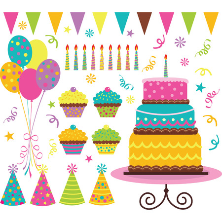 birthday party kids: Birthday Celebration Elements Illustration