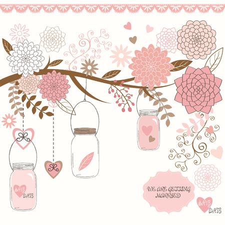 invitacion baby shower: Flor de la boda con Mason Jar