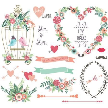 esküvő: Esküvői Virág szerelmes BirdLaurelsWedding meghívást gyűjtemények. Illusztráció