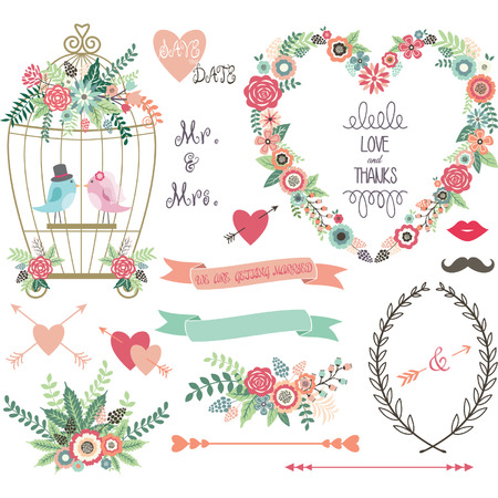 paper  clip: Wedding Floral love BirdLaurelsWedding invitation collections. Illustration