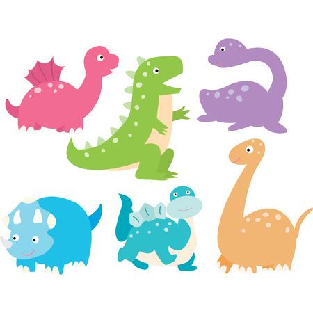 Cute Dinosaurs Collection Illusztráció