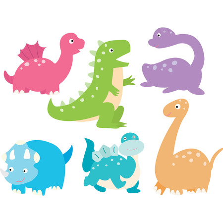 Cute Dinosaurs Collection Vectores