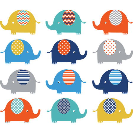 animal vector: Colorful Cute Elephant Collections