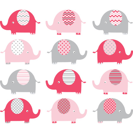 Pink Cute Elephant Collections Vector
