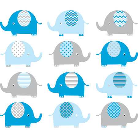Blue Cute Elephant Collections 矢量图像