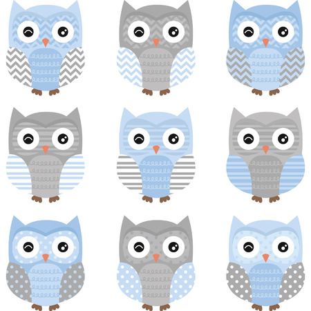 Blue and Grey Cute Owl Collections Stock Vector - 41259797