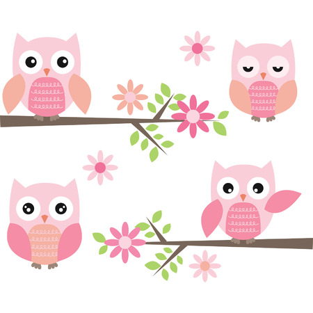 Cut Owl and Branches Vector