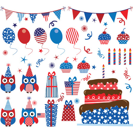 Fourth of July Patriotic Owls party set
