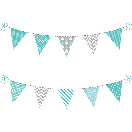 Aqua and Grey Bunting Flag set Ilustracja