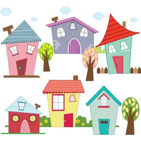 vector elements: Little HousesCute House set