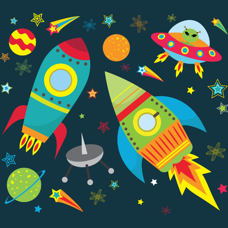 Outer Space Elements Vectores