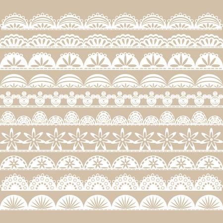 White Lace Border set Vectores