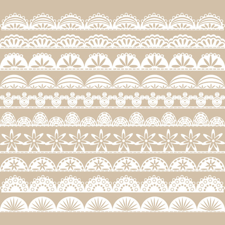lace vector: White Lace Border set Illustration