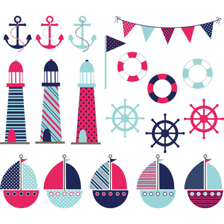 navy blue background: Pink Navy Nautical