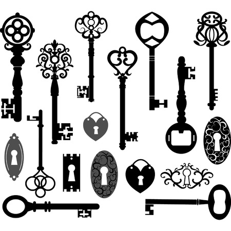 puertas antiguas: Claves Silueta Vectores