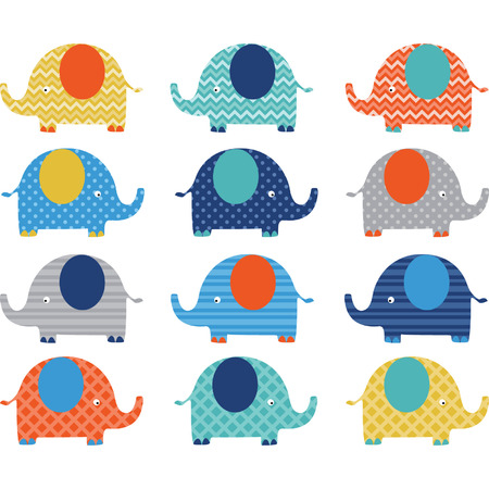 Cute Elephant pattern Vector