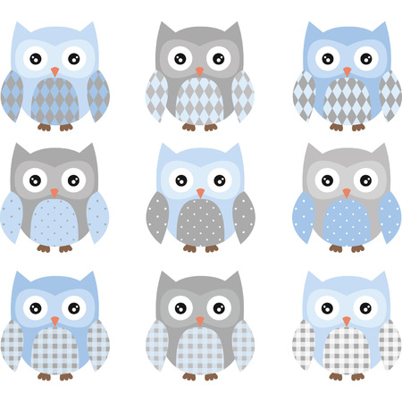 owl family: Blue and Grey Cute Owl Collections