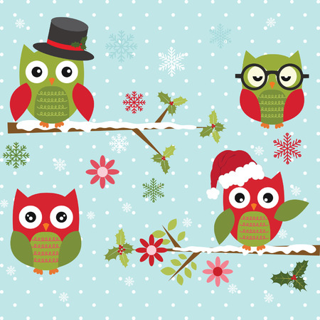 Christmas Cute Owl with Branch Vector