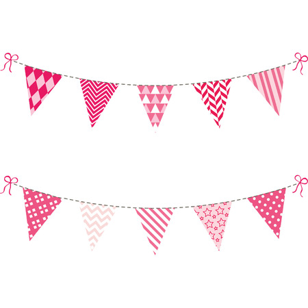Pink Bunting Flag set Vector