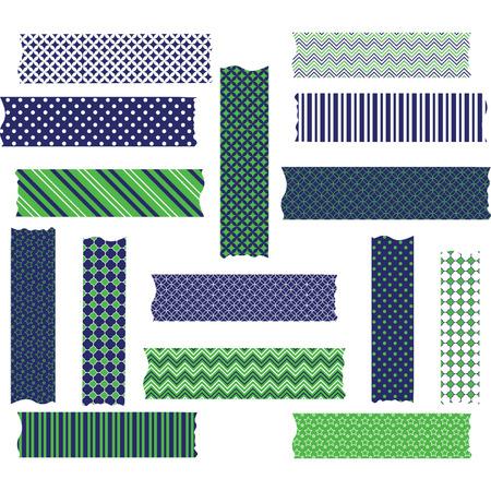 Navy Green Washi Tape Graphics set