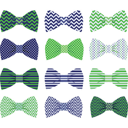 girls with bows: Cute Navy and Green Bow Tie Collection