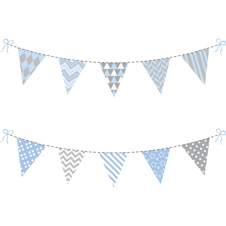 bunting flag: Blue and Grey Bunting Flag set