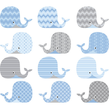 baby boy announcement: Blue and Grey Cute Whale Collections