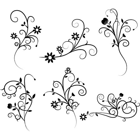 vektor: Blumen blühen Strudel-Set