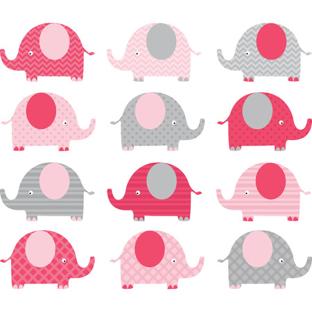 Pink Cute Elephant Collections Illustration