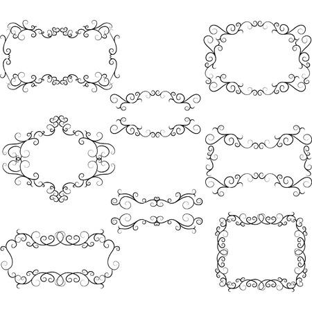 HandDrawn Flourish Swirl Border Frame. Swirls Design Elements. Illustration