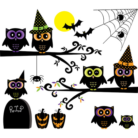 woodland  horror: Halloween Owls collections.Happy Halloween elements. Illustration