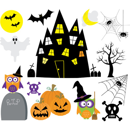 houses house: Halloween Elements set Illustration