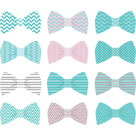 girls with bows: Cute Aqua Bow Tie Collection Illustration