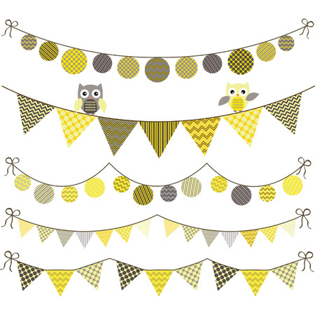 baby shower yellow: Bunting Owl Banner Party set Illustration