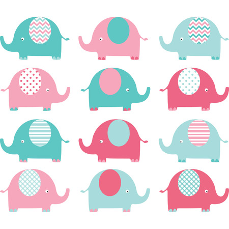 animal family: Pink Aqua Cute Elephant Collections Illustration