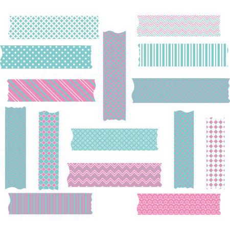 Pink and Aqua Washi Tape Graphics set