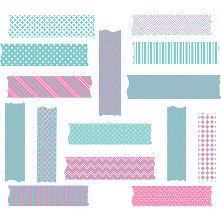 Pink and Aqua Washi Tape Graphics set