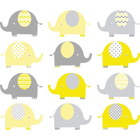 노란색과 회색 귀여운 코끼리 컬렉션