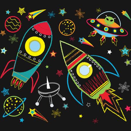 booster: El espacio exterior pizarra Vectores
