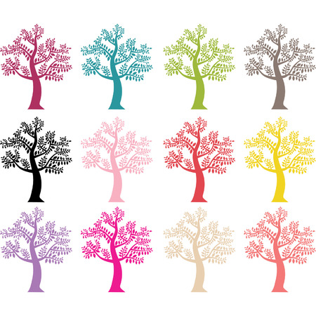 royalty free: Colorful Tree Silhouette