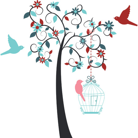 flower clip art: Love Tree,Love Bird