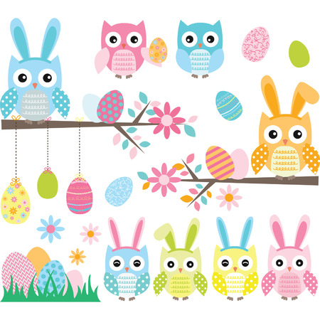 vector eggs: Easter Owl set