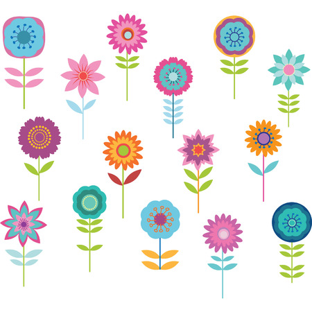 vektor: Nette bunte Blumen- Illustration