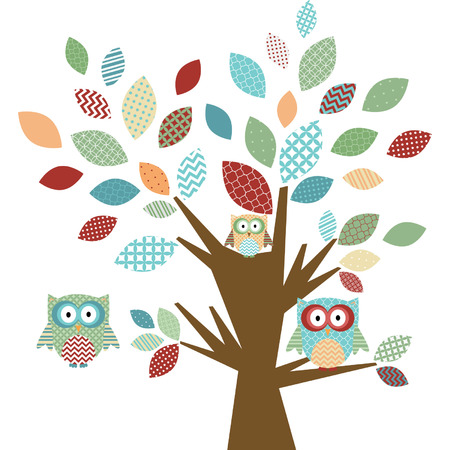 owl illustration: Cute Owl and Tree