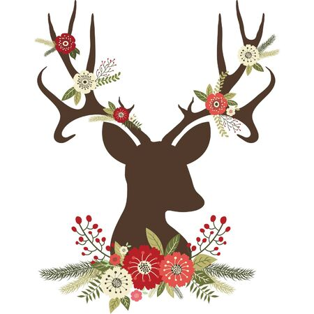 Noël Deer Antlers avec des fleurs Banque d'images - 44560723