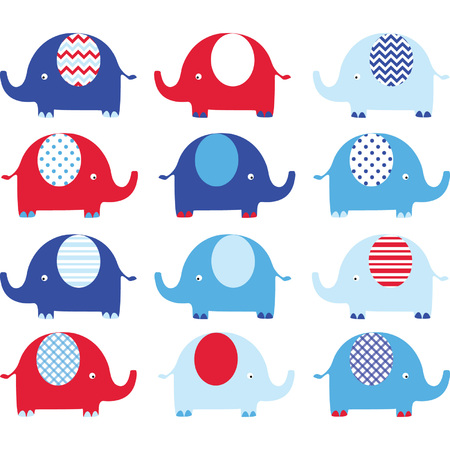 Red and Blue Cute Elephant set