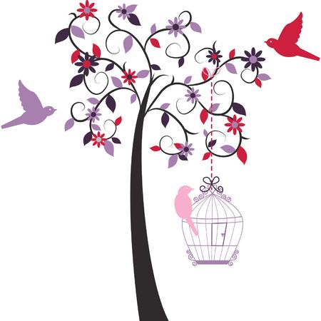 Love Tree ad Love Bird Vectores
