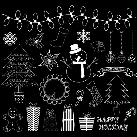 Chalkboard Christmas Doodles Collections.