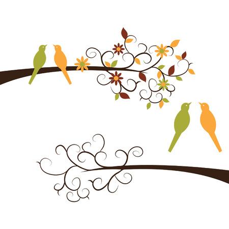 animal den: Cute Birds on Branches