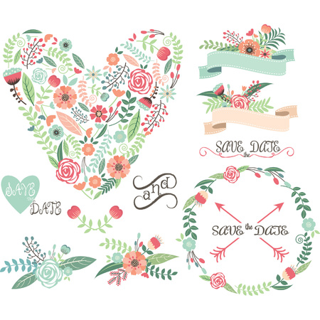 Wedding Floral Graphic Elements.Labels,Ribbons,Hearts,Arrows,Flowers,Wreaths,Laurel.